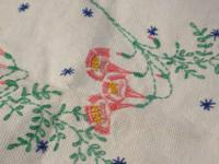 Vintage dresser scarves, pink edged and red roses