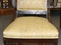 Vintage Eastlake Wooden & Upholstered Chair-Yellow.