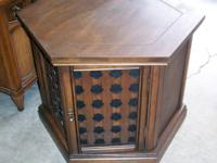 vintage 60s end table with 2 doors for storage inside.
