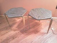 Charming !!!! Vintage end tables. Blue/Grey Formica