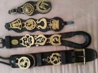 Vintage English Brass Horse Bridle Saddle Medallions on