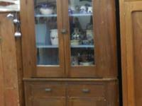 Vintage English Corner Cupboard, Two Piece Come by and
