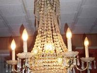 VINTAGE ESTATE GLASS CHANDELIER CRYSTAL PRISMS ORNATE