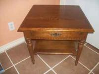 "THIS ETHAN ALLEN TABLE IS 25"" X 25"" X 22"" HIGH. SHOWS"