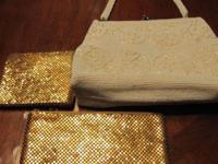 Vintage white evening bag with small pearls. This