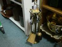 Brass fireplace set with poker, tongs, brush and