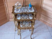 Vintage Florentine Style Nesting Tables Italy - Set of