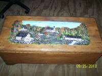 Vintage tong and groove Folk Art Chest . Hand made of