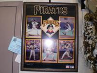 Vintage, framed Poster of Pittsburgh Pirates Players,