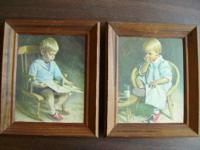 Vintage Framed Set of Gary and Gretchen Prints by J.
