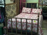 Vintage complete size brass bed for $779.  Red - cream
