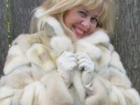Vintage 1970's Cream Fur Coat, Disco 1970's Fashion,