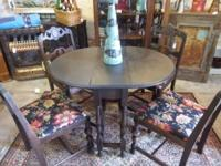 Classic gate-leg drop-leaf wooden table & 4 chairs