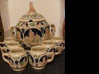 Amazing German stoneware covered punch bowl set! It is