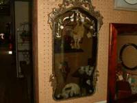 Vintage Gesso beveled mirror, etched glass see at booth