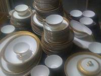 Vintage Gilded Fukagawa Arita Fine China Set for 10