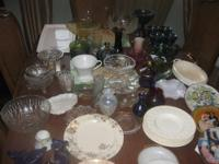 Vintage glass, wedgewood plates,carnival glass,fireking