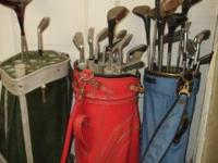 3 Vintage Golf Bags and all the clubs you see in the