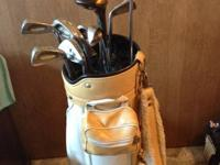 Vintage Golf Club Set and White/Tan Leather Dunlop Bag