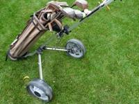 Some Old Golf Clubs & Hand Cart             !!! phone