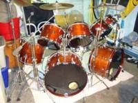 Vintage 8 piece Gretsch drum kit with Tama titanic