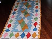 An original flat weave wool Kilim area rug in great