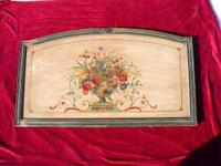 "floral on twin bed headboard, 29"" x 45"" , old and rare,"