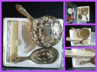 Vintage Heavy Silver Plate 3 Piece Vanity Set - BNIB
