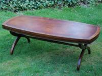 VINTAGE LEATHER TOP HERITAGE HENREDON COFFEE TABLE