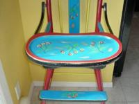 Beautiful Vintage High Chair Painted with cheery