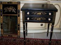 ~BLACK EBONY AUTHENTIC HITCHCOCK SIDE TABLE...$225 2