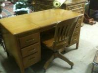 Vintage Hoosier desk with chair has keys in great