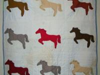 "We have a Vintage Horse Applique Quilt 45 1/2"" Long by"
