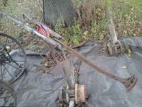 """Vintage horse drawn plow 7' 8"""" in length Wood handles"""