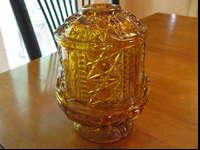 Vintage Indiana Glass Company Amber Glass Fairy Lamp.