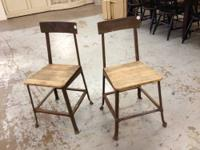 Vintage Industrial Metal with Wood Chairs $85 Each