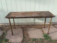 Spectacular industrial wood and metal table. 30 inches
