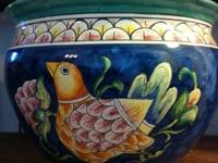 Beautiful hand painted ceramic planter / pot. Purchased