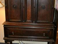 Vintage Jacobean Style Cabinet Hutch With Drawer.