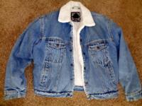 VINTAGE ANCHOR BLUE JEAN JACKET WITH FLEECE LINING LIKE