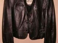 Vintage 80's Ladies Berman's Black Leather Jacket. Crop