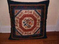 Vintage Large Floor Pillow. Blue Tapestry/Quilt Design