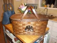 Vintage Large Wood Wicker Basket - American Eagle on