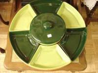 The real deal, vintage Lazy Susan in 2 tone greens with