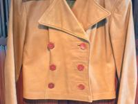 Vintage Leather Jacket Designer Walter Dyer Women's Tan