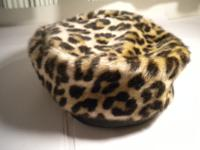 Vintage Leopard style Faux fur and leather Trim hat.