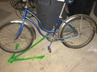Girl's vintage blue SCHWINN bicycle. Bike. Bike has 20""
