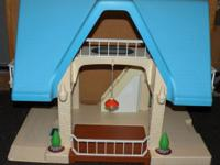 Vintage Little Tikes Dollhouse with Blue Roof Built in
