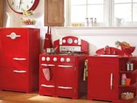 3 piece red & white wood retro play kitchen set by