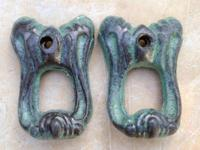 PAIR OF VINTAGE LOOKING, ORNATE LION HEAD CAST IRON